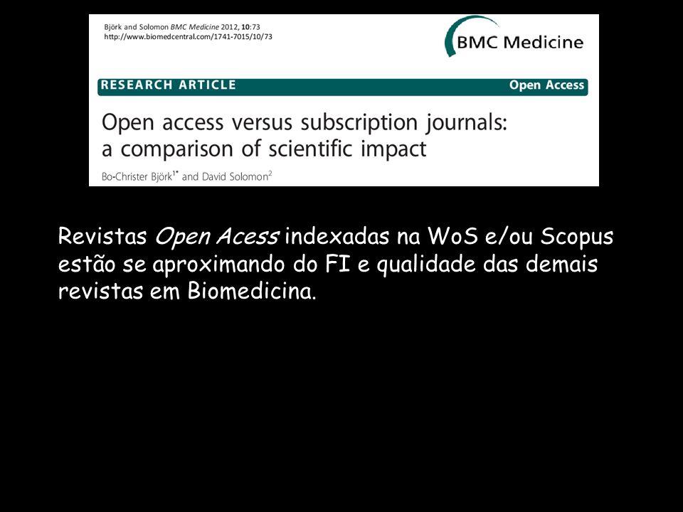 Revistas Open Acess indexadas na WoS e/ou Scopus estão se aproximando do FI e qualidade das demais revistas em Biomedicina.