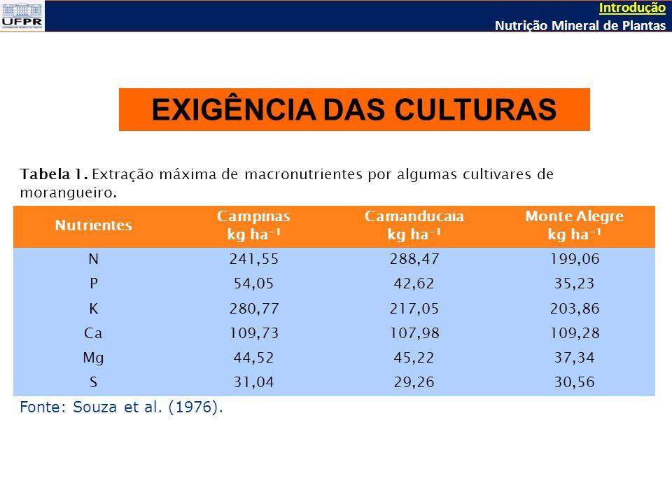 Tabela 1.Extração máxima de macronutrientes por algumas cultivares de morangueiro.