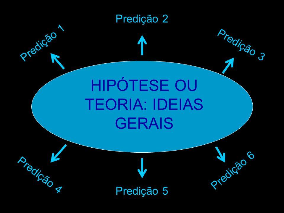 HIPÓTESE OU TEORIA: IDEIAS GERAIS Predição 1 Predição 2 Predição 3 Predição 6 Predição 4 Predição 5