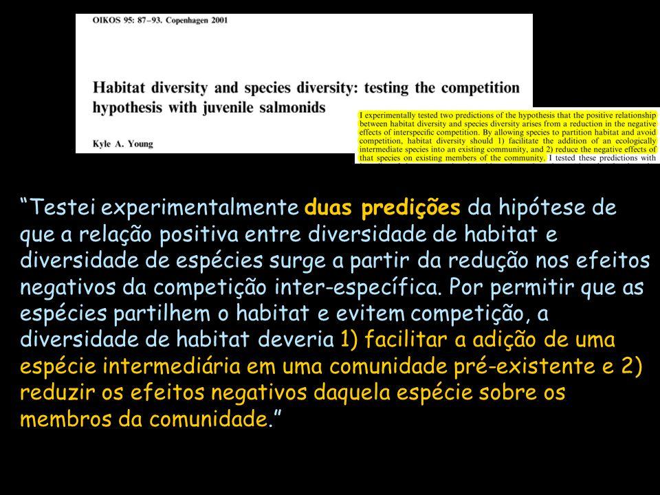 Testei experimentalmente duas predições da hipótese de que a relação positiva entre diversidade de habitat e diversidade de espécies surge a partir da