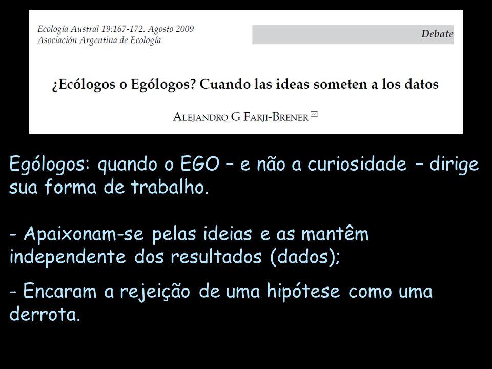 Ególogos: quando o EGO – e não a curiosidade – dirige sua forma de trabalho. - Apaixonam-se pelas ideias e as mantêm independente dos resultados (dado