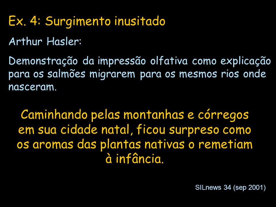 Ex. 4: Surgimento inusitado Arthur Hasler: Demonstração da impressão olfativa como explicação para os salmões migrarem para os mesmos rios onde nascer