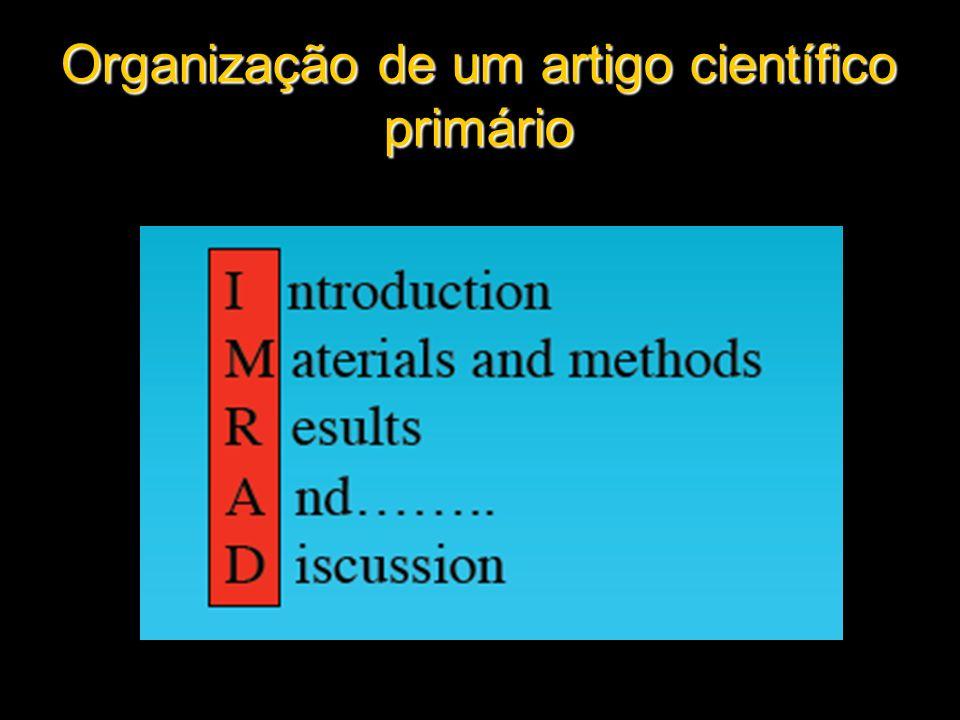 Organização de um artigo científico primário