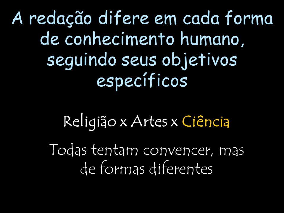 Religião x Artes x Ciência Todas tentam convencer, mas de formas diferentes A redação difere em cada forma de conhecimento humano, seguindo seus objet