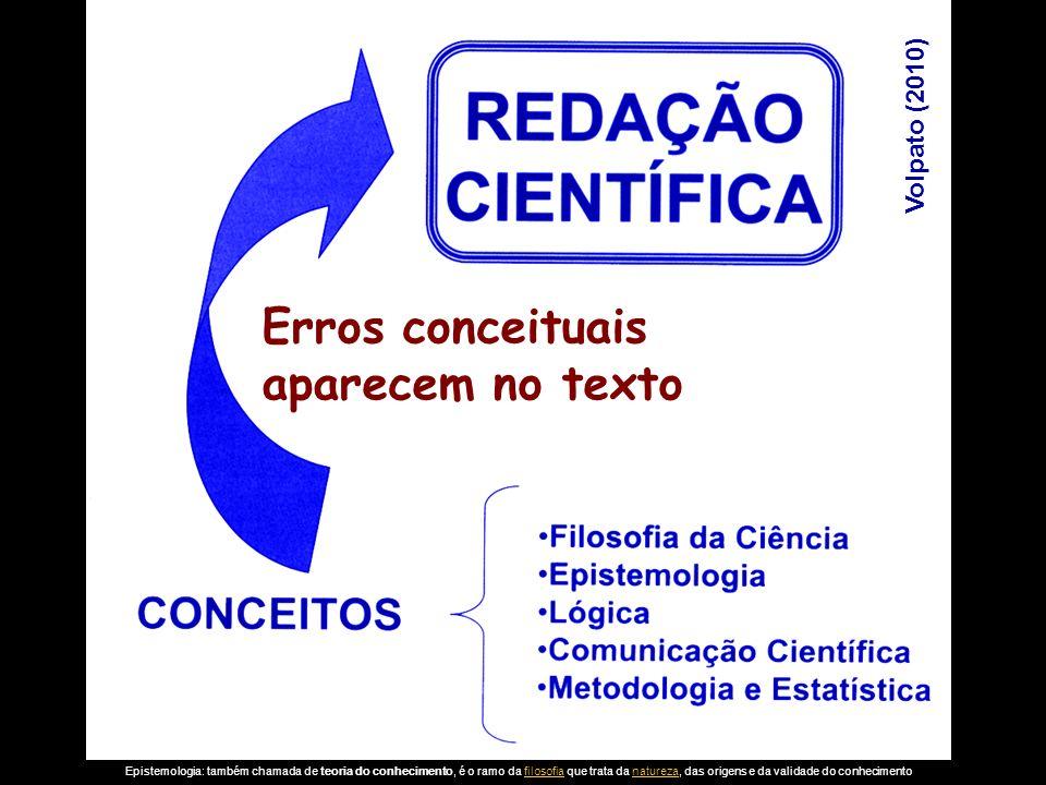 Volpato (2010) Erros conceituais aparecem no texto Epistemologia: também chamada de teoria do conhecimento, é o ramo da filosofia que trata da naturez