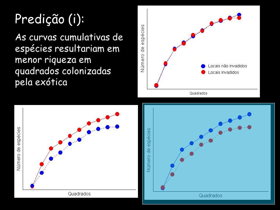 Predição (i): Quadrados As curvas cumulativas de espécies resultariam em menor riqueza em quadrados colonizadas pela exótica