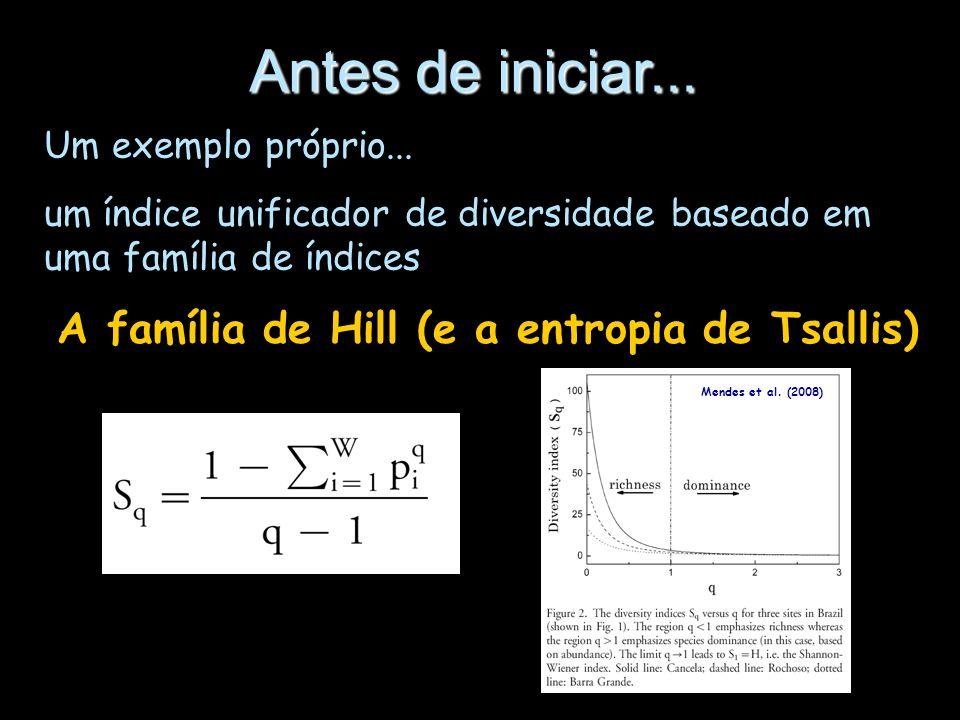 Antes de iniciar... Um exemplo próprio... um índice unificador de diversidade baseado em uma família de índices A família de Hill (e a entropia de Tsa