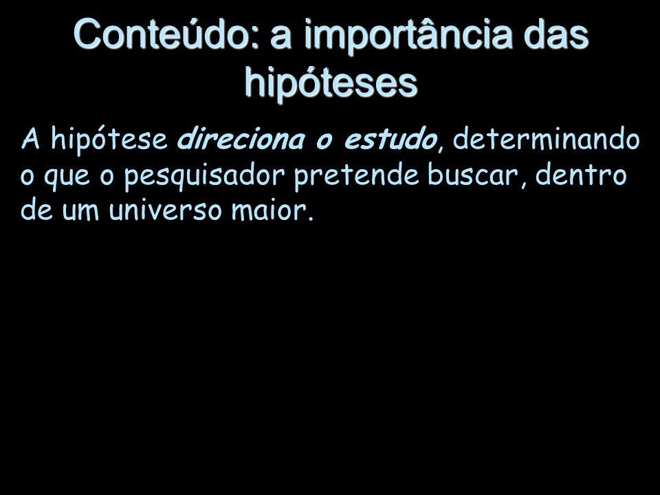 Conteúdo: a importância das hipóteses A hipótese direciona o estudo, determinando o que o pesquisador pretende buscar, dentro de um universo maior.