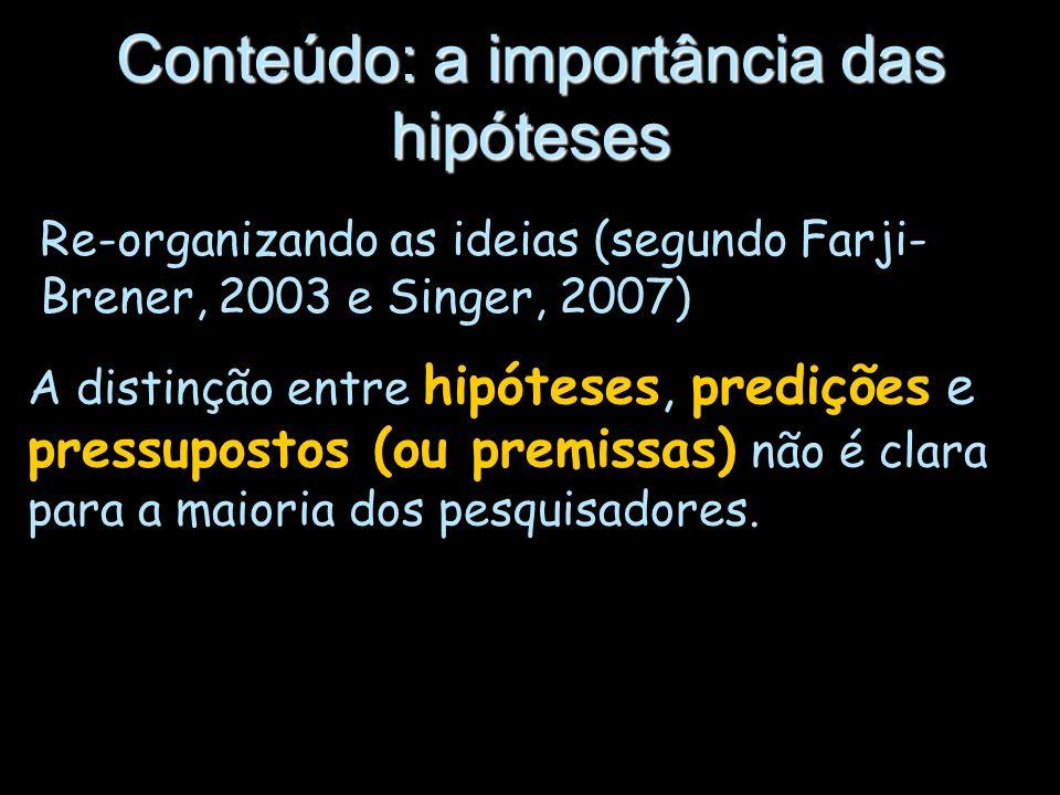 Re-organizando as ideias (segundo Farji- Brener, 2003 e Singer, 2007) Conteúdo: a importância das hipóteses A distinção entre hipóteses, predições e p
