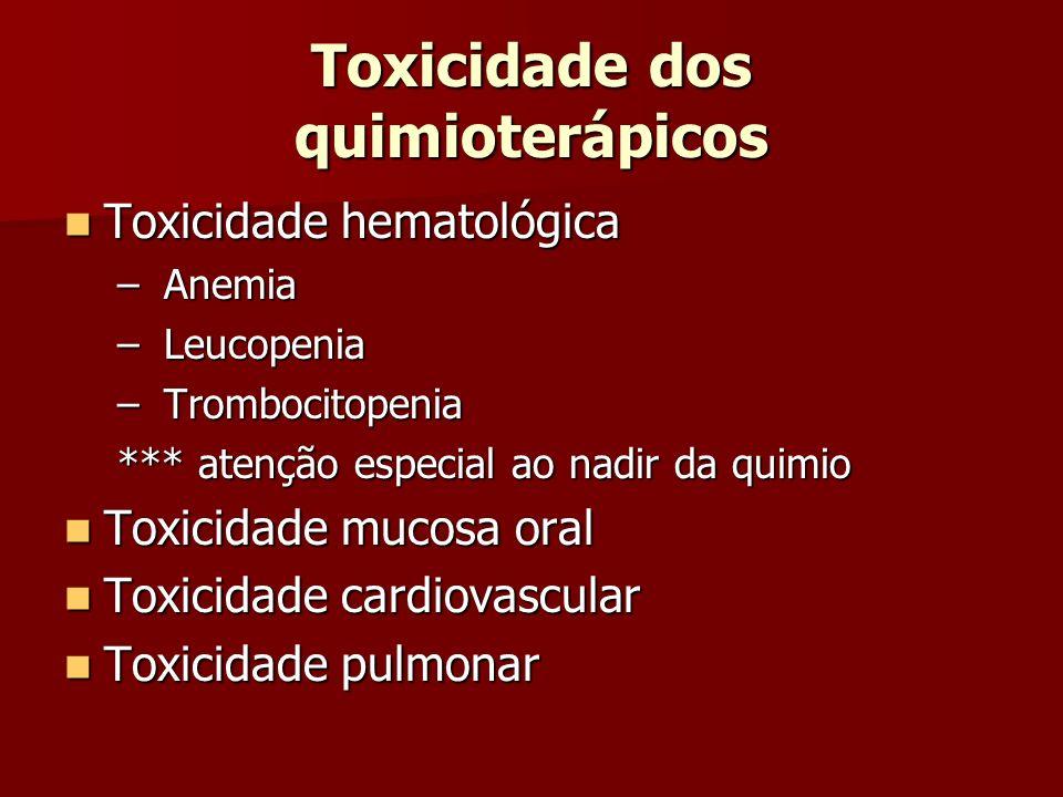 Toxicidade dos quimioterápicos Toxicidade hematológica Toxicidade hematológica – Anemia – Leucopenia – Trombocitopenia *** atenção especial ao nadir d