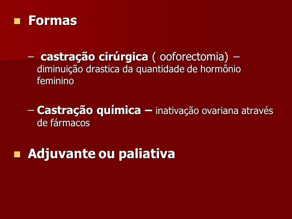 Formas Formas – castração cirúrgica ( ooforectomia) – diminuição drastica da quantidade de hormônio feminino –Castração química – inativação ovariana