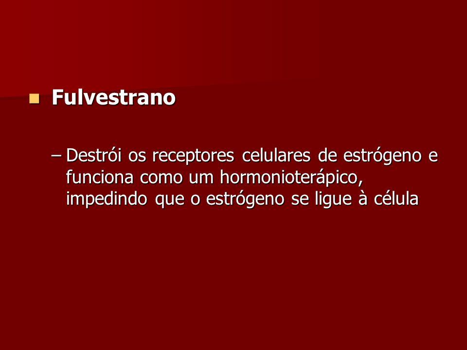Fulvestrano Fulvestrano –Destrói os receptores celulares de estrógeno e funciona como um hormonioterápico, impedindo que o estrógeno se ligue à célula
