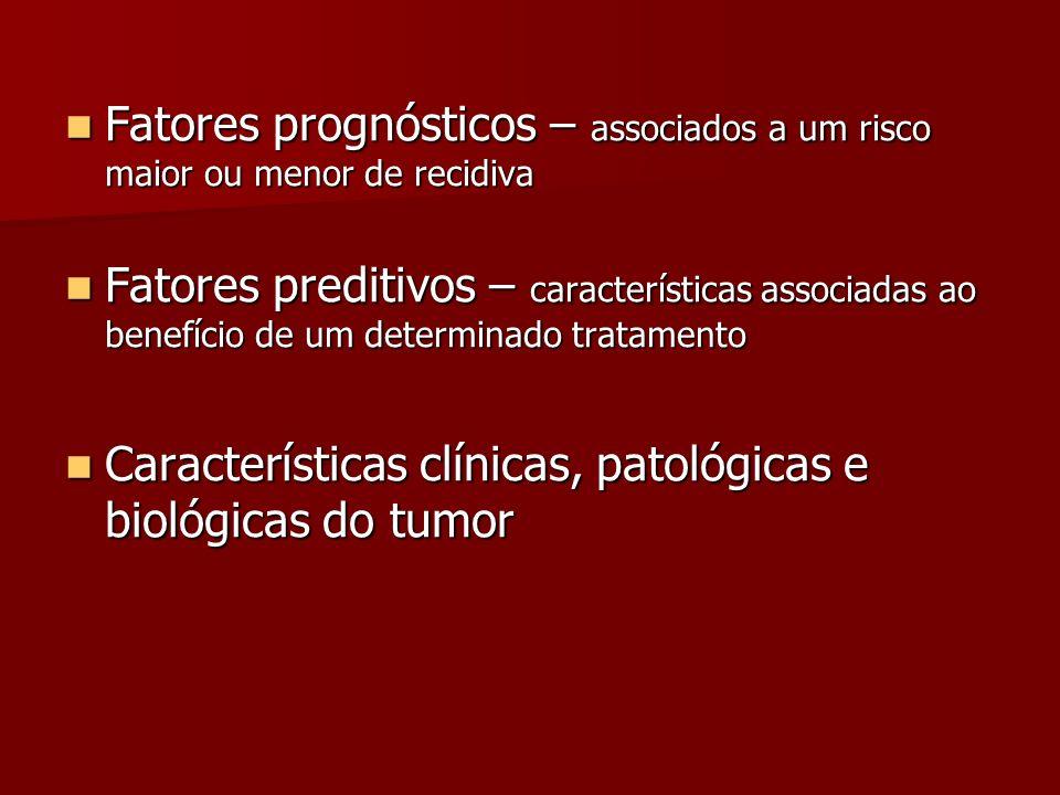 Fatores prognósticos – associados a um risco maior ou menor de recidiva Fatores prognósticos – associados a um risco maior ou menor de recidiva Fatore