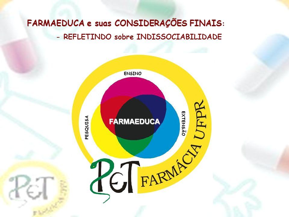 FARMAEDUCA e suas CONSIDERAÇÕES FINAIS FARMAEDUCA e suas CONSIDERAÇÕES FINAIS : - REFLETINDO sobre INDISSOCIABILIDADE FARMAEDUCA