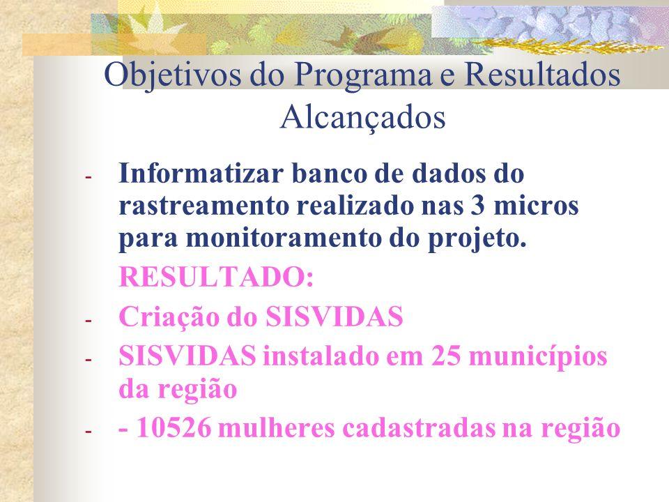 Objetivos do Programa e Resultados Alcançados - Informatizar banco de dados do rastreamento realizado nas 3 micros para monitoramento do projeto. RESU