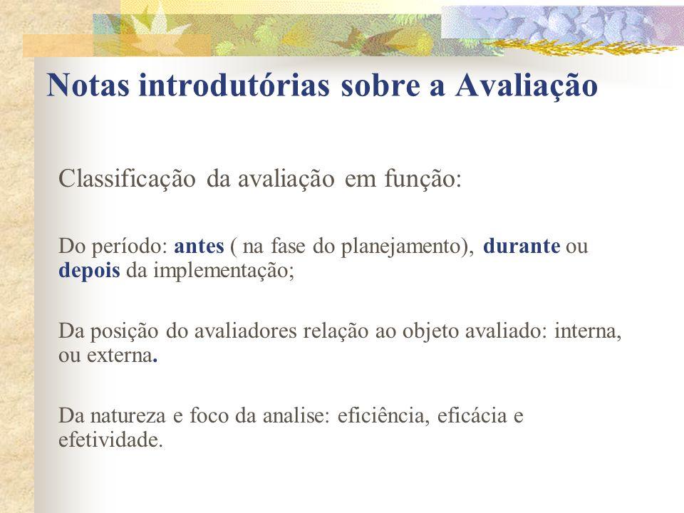 Notas introdutórias sobre a Avaliação Classificação da avaliação em função: Do período: antes ( na fase do planejamento), durante ou depois da impleme