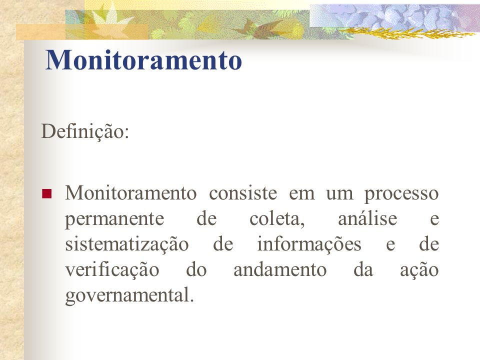 Monitoramento Definição: Monitoramento consiste em um processo permanente de coleta, análise e sistematização de informações e de verificação do andam