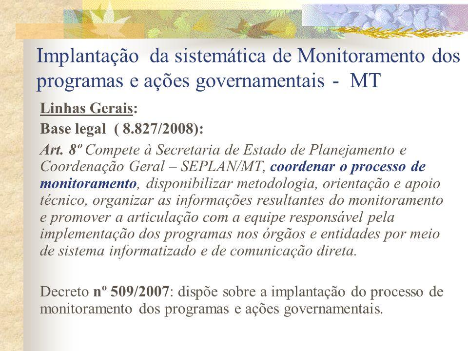 Implantação da sistemática de Monitoramento dos programas e ações governamentais - MT Linhas Gerais: Base legal ( 8.827/2008): Art. 8º Compete à Secre