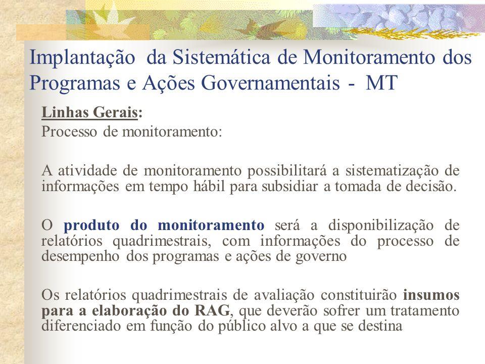 Implantação da Sistemática de Monitoramento dos Programas e Ações Governamentais - MT Linhas Gerais: Processo de monitoramento: A atividade de monitor