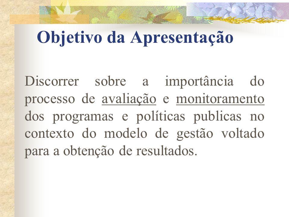 Objetivo da Apresentação Discorrer sobre a importância do processo de avaliação e monitoramento dos programas e políticas publicas no contexto do mode