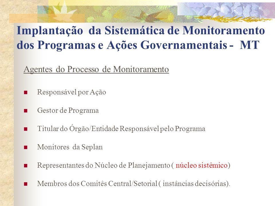 Implantação da Sistemática de Monitoramento dos Programas e Ações Governamentais - MT Agentes do Processo de Monitoramento Responsável por Ação Gestor