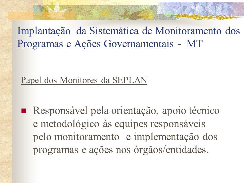Implantação da Sistemática de Monitoramento dos Programas e Ações Governamentais - MT Papel dos Monitores da SEPLAN Responsável pela orientação, apoio