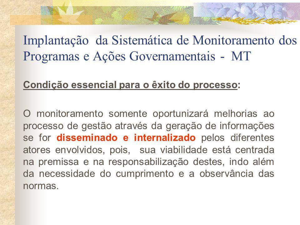 Implantação da Sistemática de Monitoramento dos Programas e Ações Governamentais - MT Condição essencial para o êxito do processo: O monitoramento som