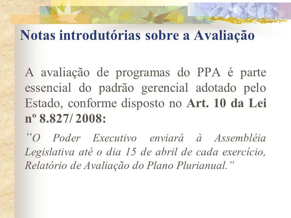 Notas introdutórias sobre a Avaliação A avaliação de programas do PPA é parte essencial do padrão gerencial adotado pelo Estado, conforme disposto no