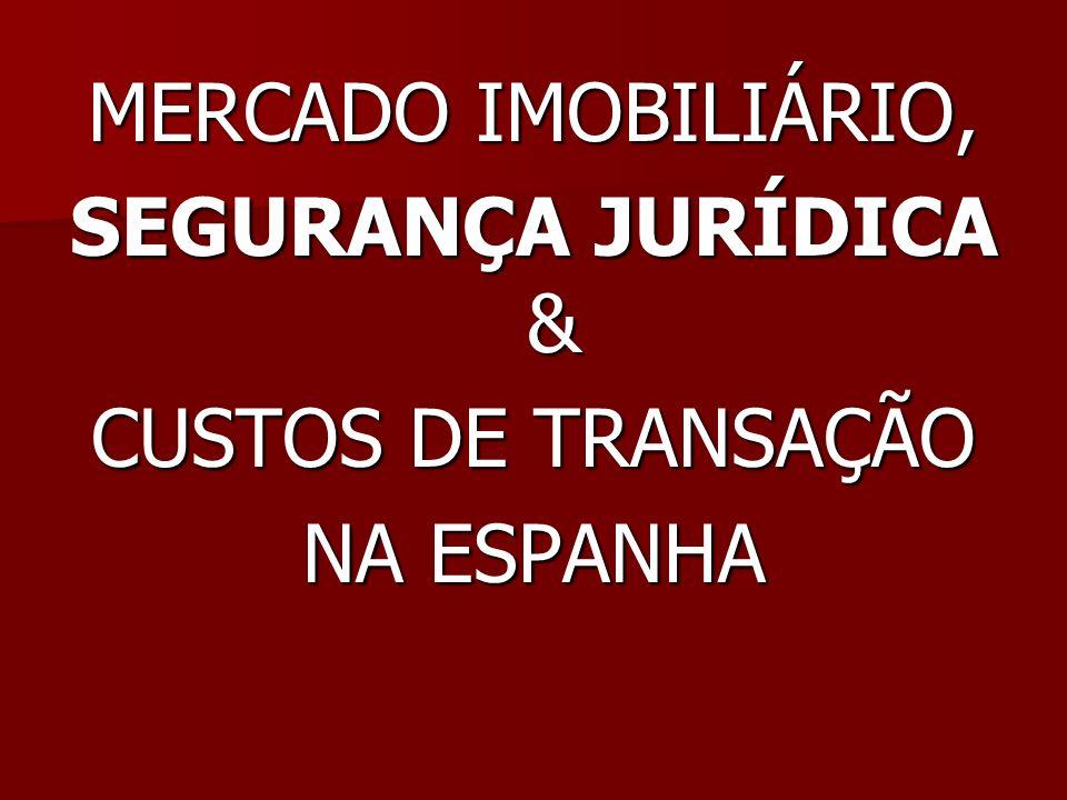 MERCADO IMOBILIÁRIO, SEGURANÇA JURÍDICA & CUSTOS DE TRANSAÇÃO NA ESPANHA