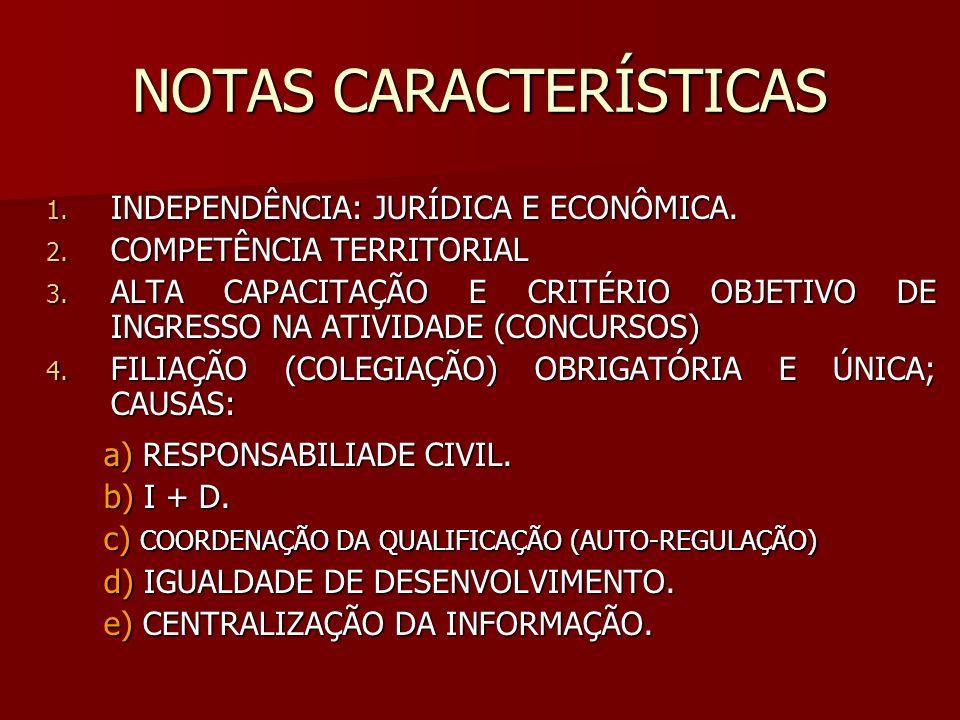 NOTAS CARACTERÍSTICAS 1. INDEPENDÊNCIA: JURÍDICA E ECONÔMICA. 2. COMPETÊNCIA TERRITORIAL 3. ALTA CAPACITAÇÃO E CRITÉRIO OBJETIVO DE INGRESSO NA ATIVID