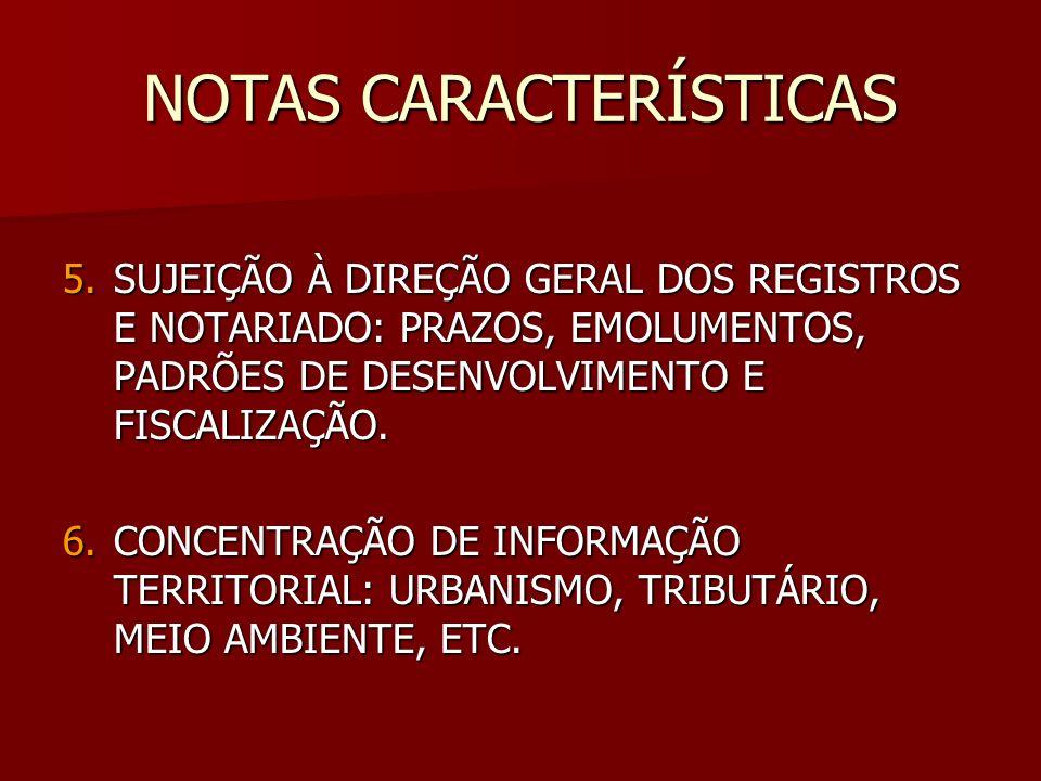 NOTAS CARACTERÍSTICAS 5.SUJEIÇÃO À DIREÇÃO GERAL DOS REGISTROS E NOTARIADO: PRAZOS, EMOLUMENTOS, PADRÕES DE DESENVOLVIMENTO E FISCALIZAÇÃO. 6.CONCENTR