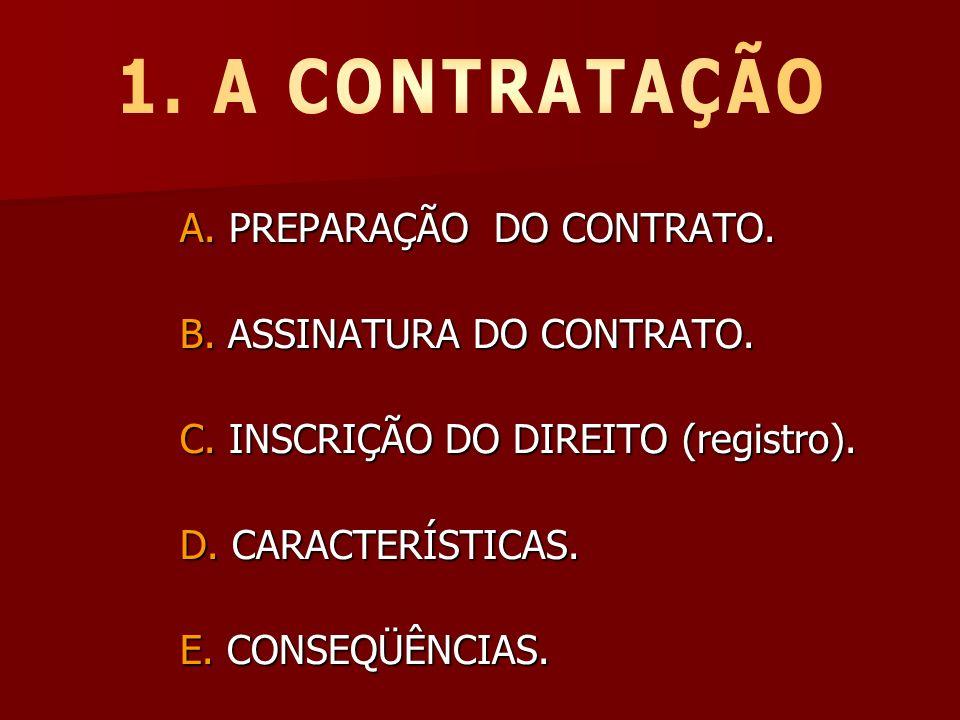 A. PREPARAÇÃO DO CONTRATO. B. ASSINATURA DO CONTRATO. C. INSCRIÇÃO DO DIREITO (registro). D. CARACTERÍSTICAS. E. CONSEQÜÊNCIAS.
