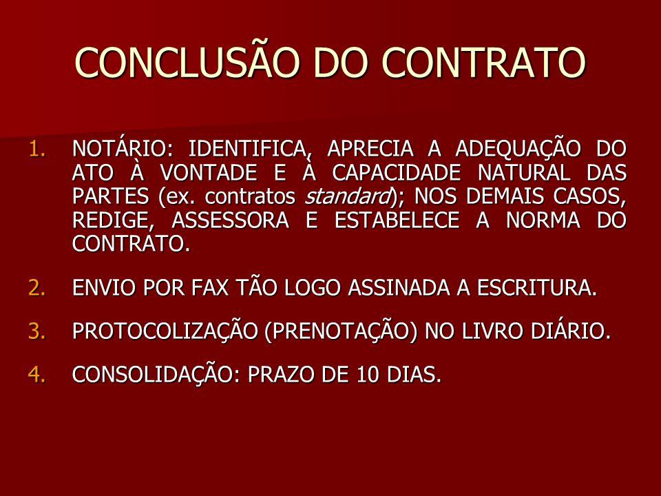 CONCLUSÃO DO CONTRATO 1.NOTÁRIO: IDENTIFICA, APRECIA A ADEQUAÇÃO DO ATO À VONTADE E À CAPACIDADE NATURAL DAS PARTES (ex. contratos standard); NOS DEMA