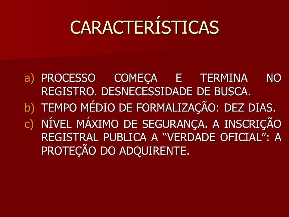CARACTERÍSTICAS a)PROCESSO COMEÇA E TERMINA NO REGISTRO. DESNECESSIDADE DE BUSCA. b)TEMPO MÉDIO DE FORMALIZAÇÃO: DEZ DIAS. c)NÍVEL MÁXIMO DE SEGURANÇA