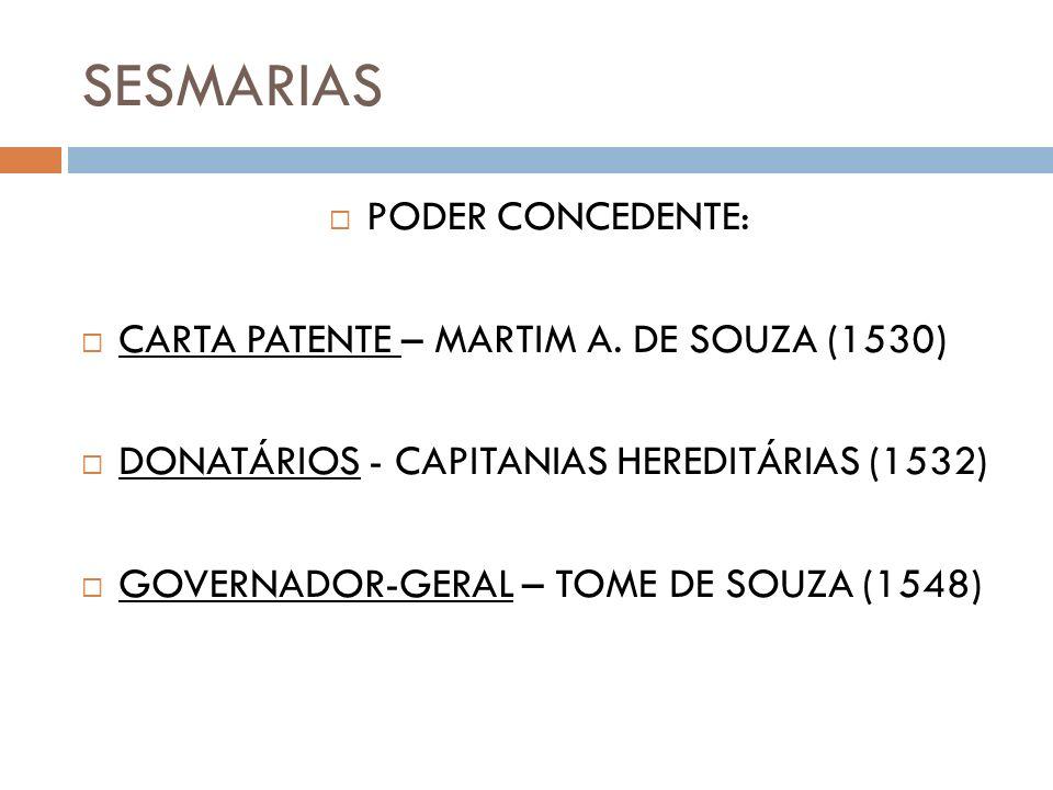 SESMARIAS PODER CONCEDENTE: CARTA PATENTE – MARTIM A. DE SOUZA (1530) DONATÁRIOS - CAPITANIAS HEREDITÁRIAS (1532) GOVERNADOR-GERAL – TOME DE SOUZA (15