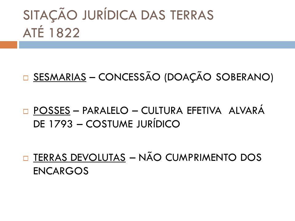 SITAÇÃO JURÍDICA DAS TERRAS ATÉ 1822 SESMARIAS – CONCESSÃO (DOAÇÃO SOBERANO) POSSES – PARALELO – CULTURA EFETIVA ALVARÁ DE 1793 – COSTUME JURÍDICO TER