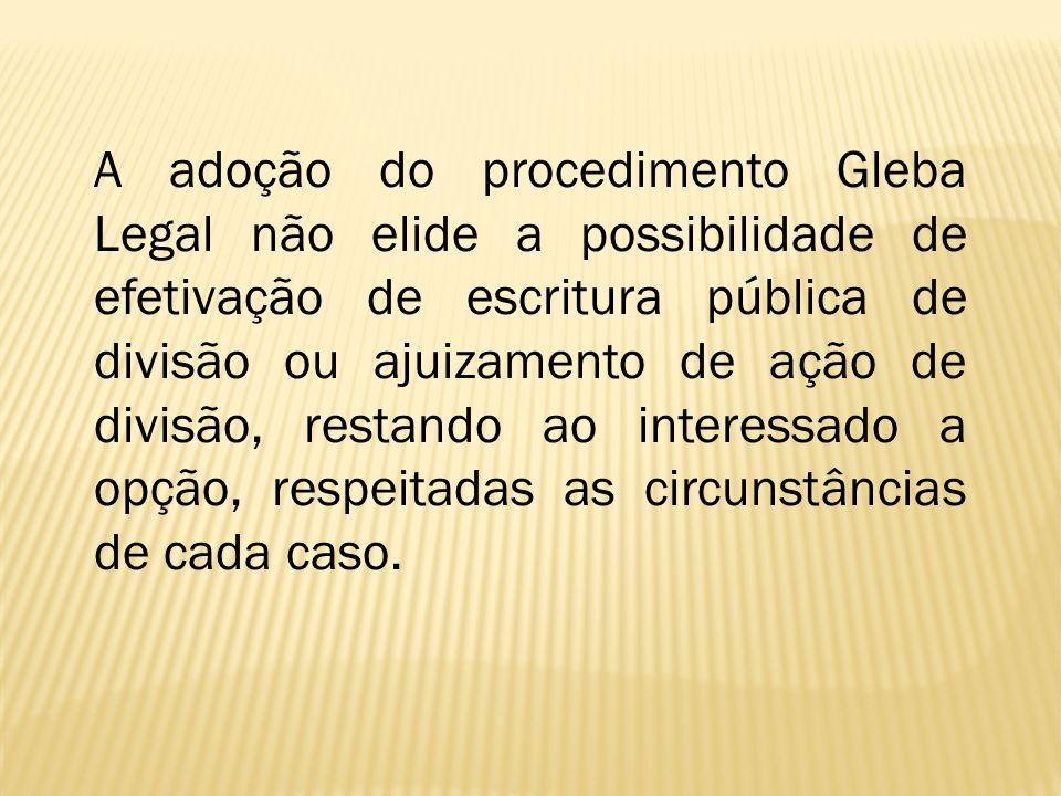 A adoção do procedimento Gleba Legal não elide a possibilidade de efetivação de escritura pública de divisão ou ajuizamento de ação de divisão, restan