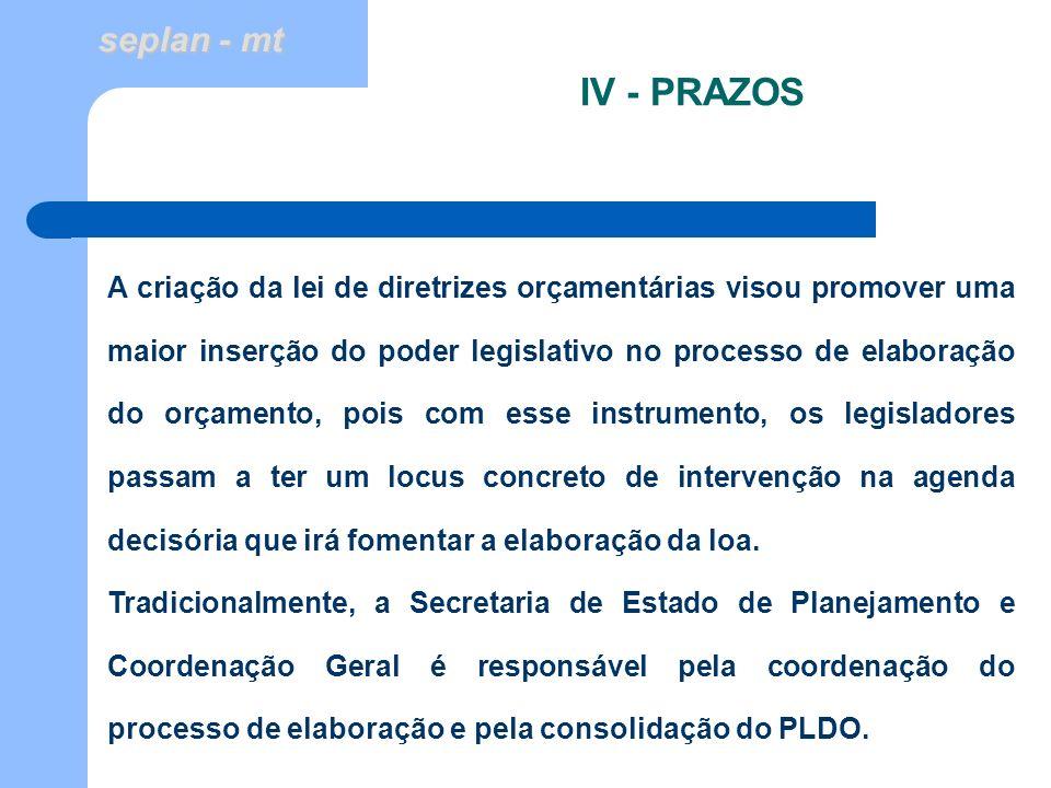 seplan - mt IV - PRAZOS A criação da lei de diretrizes orçamentárias visou promover uma maior inserção do poder legislativo no processo de elaboração