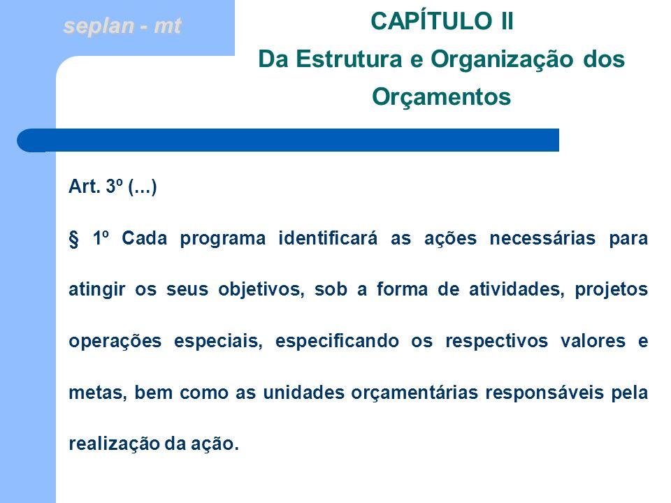 seplan - mt CAPÍTULO II Da Estrutura e Organização dos Orçamentos Art. 3º (...) § 1º Cada programa identificará as ações necessárias para atingir os s