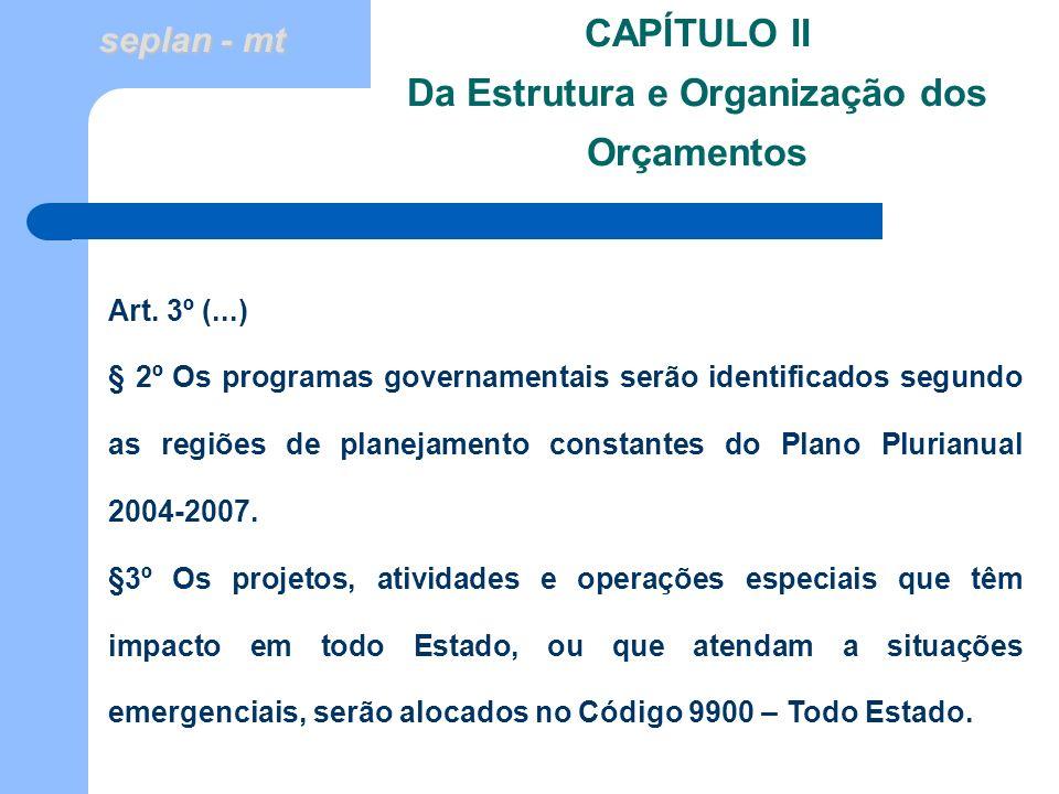 seplan - mt CAPÍTULO II Da Estrutura e Organização dos Orçamentos Art. 3º (...) § 2º Os programas governamentais serão identificados segundo as regiõe