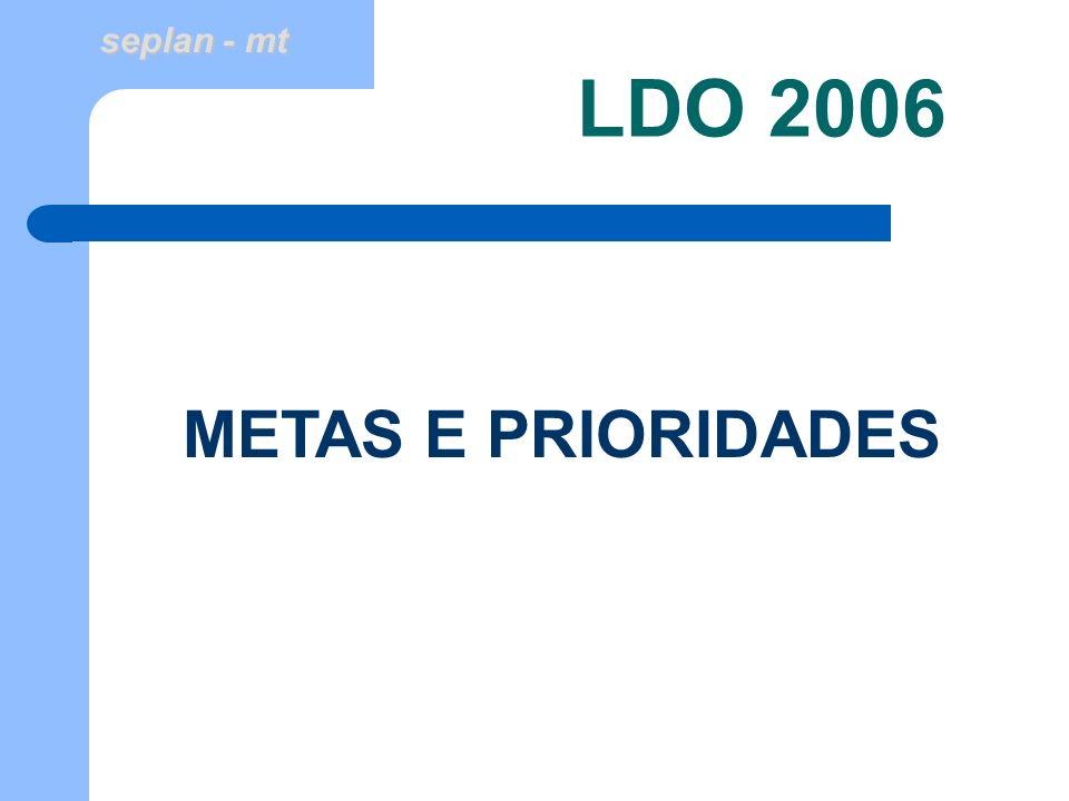 seplan - mt LDO 2006 METAS E PRIORIDADES
