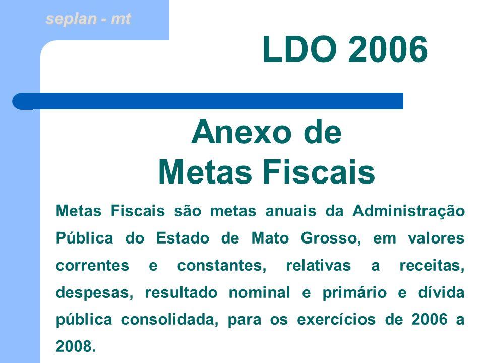 seplan - mt Anexo de Metas Fiscais LDO 2006 Metas Fiscais são metas anuais da Administração Pública do Estado de Mato Grosso, em valores correntes e c