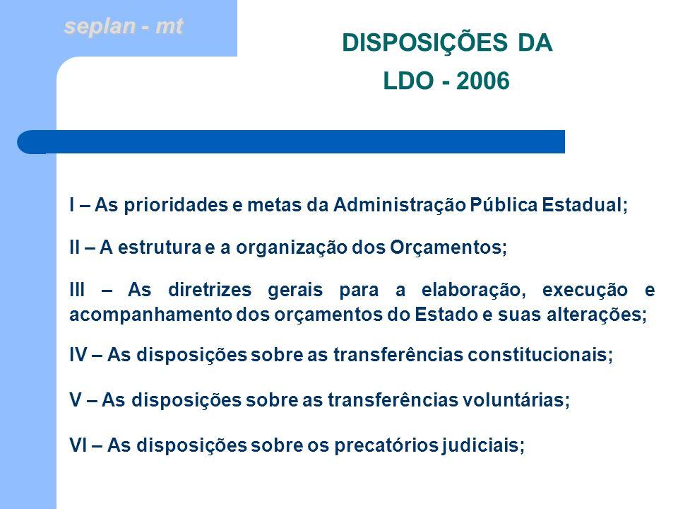seplan - mt DISPOSIÇÕES DA LDO - 2006 I – As prioridades e metas da Administração Pública Estadual; II – A estrutura e a organização dos Orçamentos; I