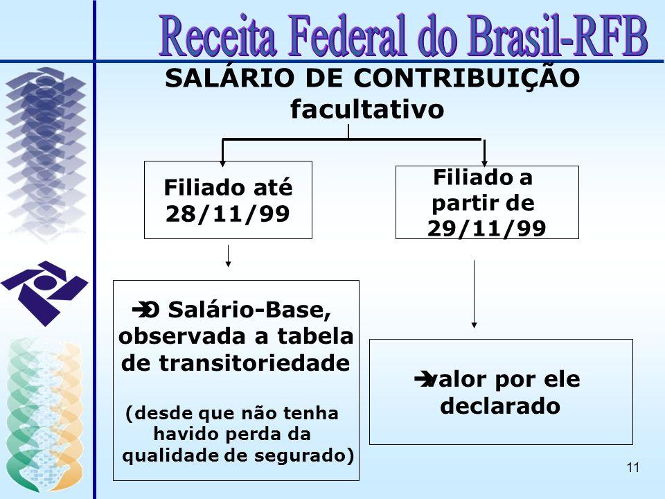 11 Filiado até 28/11/99 èvalor por ele declarado èO Salário-Base, observada a tabela de transitoriedade (desde que não tenha havido perda da qualidade