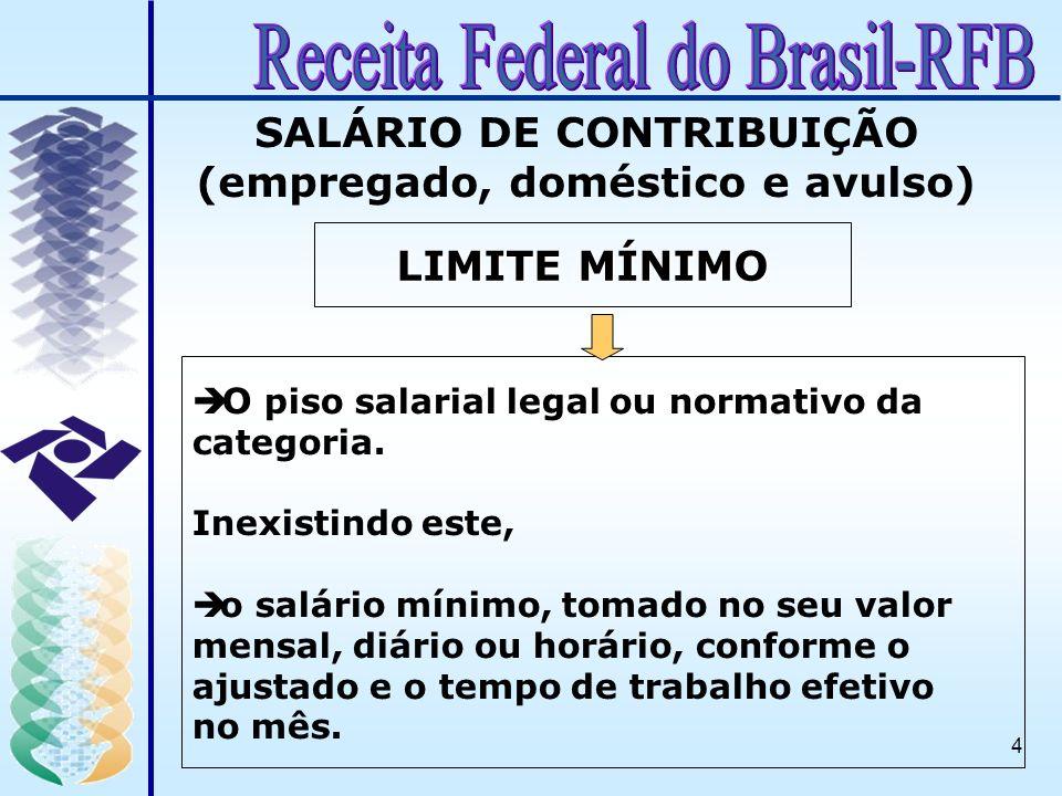 4 SALÁRIO DE CONTRIBUIÇÃO (empregado, doméstico e avulso) LIMITE MÍNIMO è O piso salarial legal ou normativo da categoria. Inexistindo este, è o salár