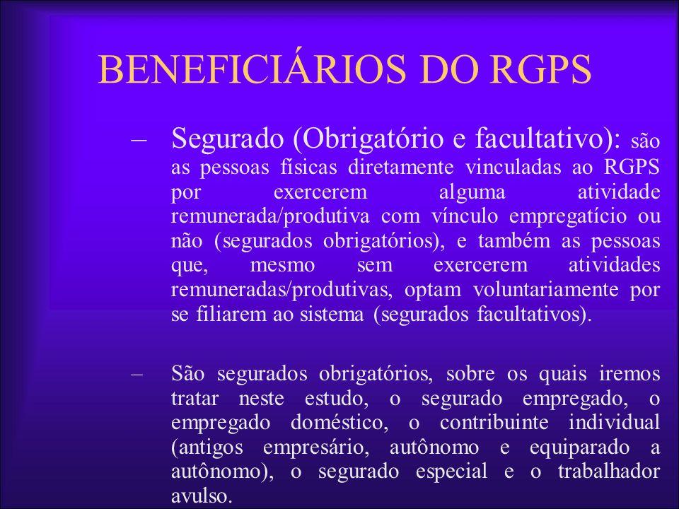 BENEFICIÁRIOS DO RGPS –Segurado (Obrigatório e facultativo): são as pessoas físicas diretamente vinculadas ao RGPS por exercerem alguma atividade remu