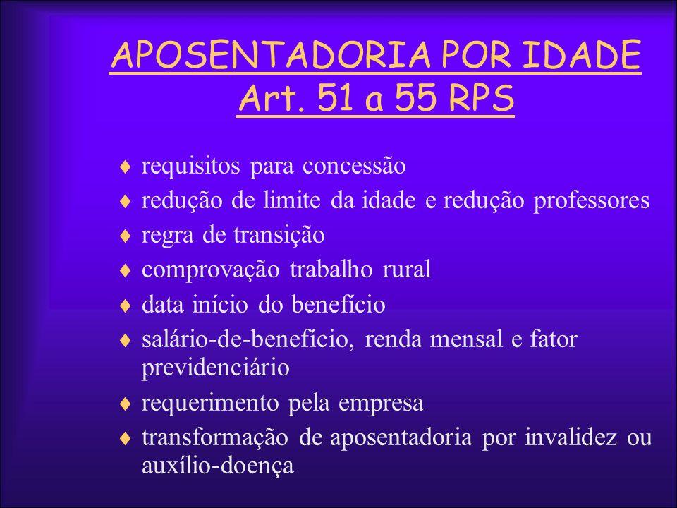 APOSENTADORIA POR IDADE Art. 51 a 55 RPS requisitos para concessão redução de limite da idade e redução professores regra de transição comprovação tra