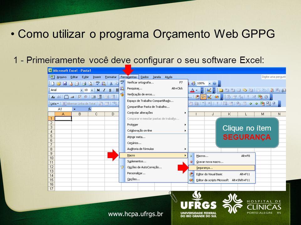 Como utilizar o programa Orçamento Web GPPG 1 - Primeiramente você deve configurar o seu software Excel: Clique no ítem SEGURANÇA