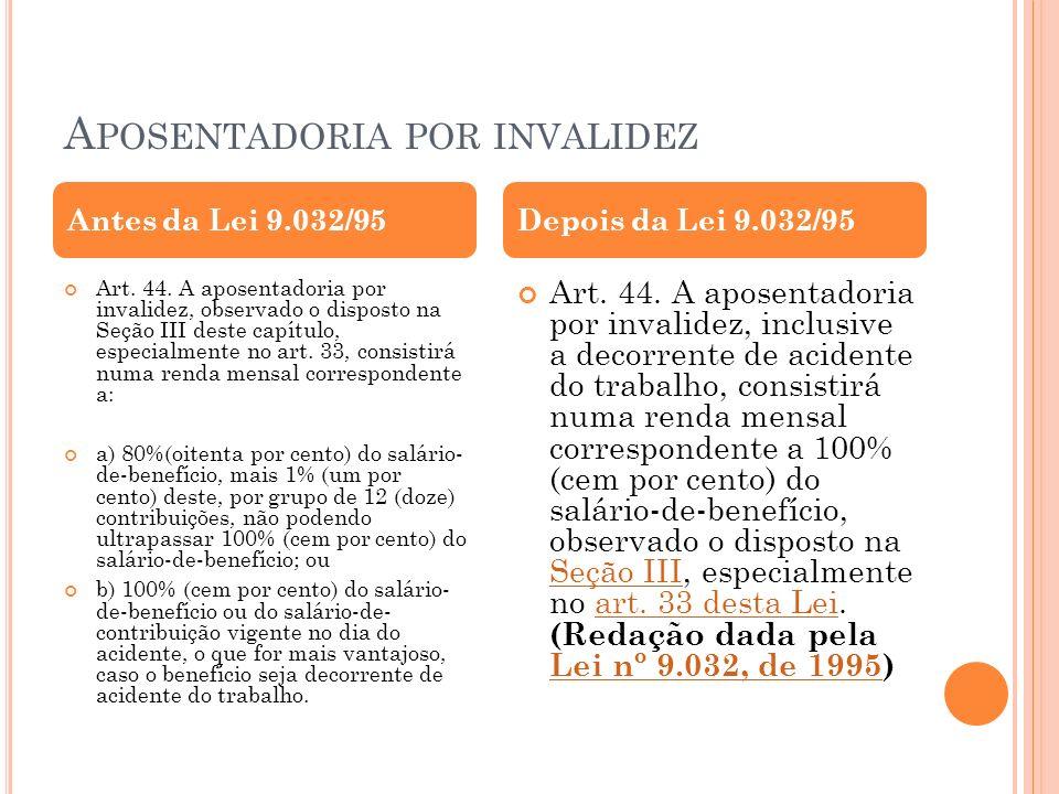 A POSENTADORIA POR INVALIDEZ Art. 44. A aposentadoria por invalidez, observado o disposto na Seção III deste capítulo, especialmente no art. 33, consi