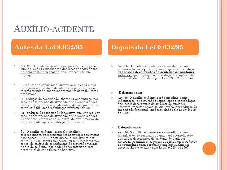 A UXÍLIO - ACIDENTE Art. 86. O auxílio-acidente será concedido ao segurado quando, após a consolidação das lesões decorrentes do acidente do trabalho,